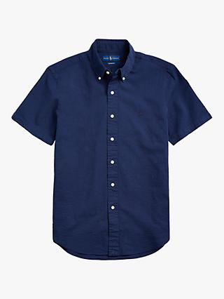 Polo Ralph Lauren Short Sleeve Linen Shirt, Astoria Navy