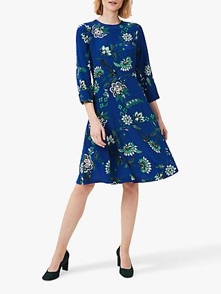 Hobbs Marietta Floral Dress, Azure/Apple Green