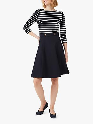 Hobbs Caris Stripe Jersey Dress, Navy/Ivory