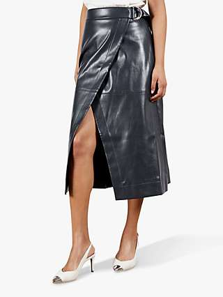 Ted Baker Elii Faux Leather Wrap Skirt, Navy