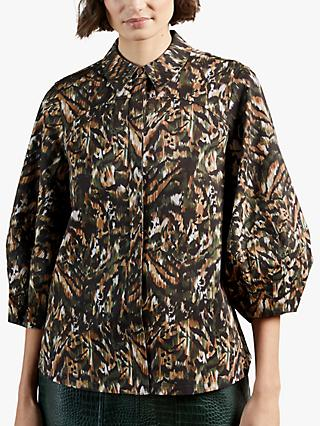 Ted Baker Evrett Jungle Print Top, Khaki/Multi