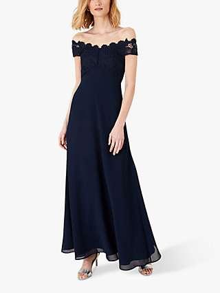 Monsoon Dawn Lace Maxi Dress, Navy