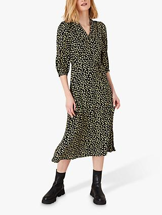 Monsoon Floral Collar Dress, Black