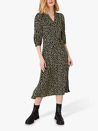 Monsoon Floral Collar Dress, Black