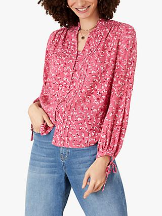 Monsoon Squiggle Print Blouse, Pink
