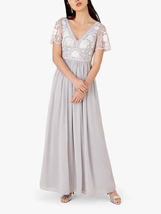 Monsoon Daphnee Floral Embroidered Dress, Grey