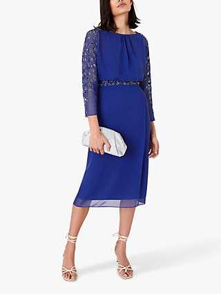 Monsoon Clover Floral Embellished Sleeve Dress, Cobalt