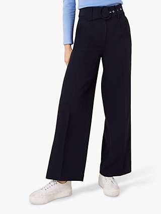 Monsoon Circle Belt Wide Leg Trousers, Navy