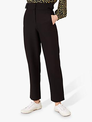 Monsoon Buckle Waist Trousers, Black