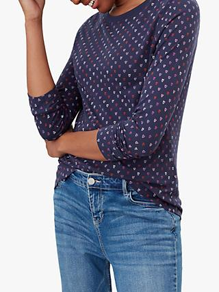 Joules Selma Heart Print Jersey Top, Navy/Multi