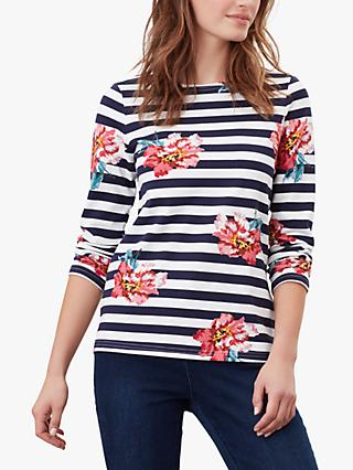 Joules Harbour Stripe Oversized Floral Jersey Top, Navy