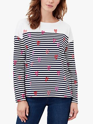Joules Marina Heart Jersey Top, Navy/White