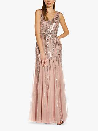 Adrianna Papell Beaded Sleeveless Dress, Candied Ginger