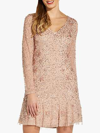 Adrianna Papell Bead Cocktail Dress, Blush
