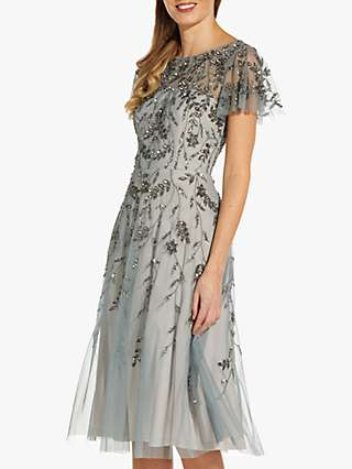 Adrianna Papell Beaded Flutter Sleeve Midi Dress, Slate