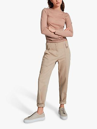 Reiss Margot Wool Cashmere Blend Ruched Top, Blush