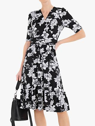 Jolie Moi Darby Floral Print Wrap Front Midi Dress, Black