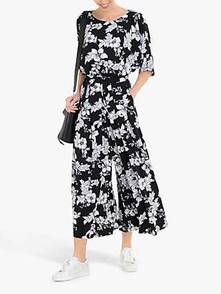 Jolie Moi Cleo Floral Print Jumpsuit, Black/Multi
