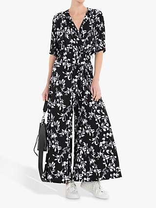 Jolie Moi Bianca Floral Print Jumpsuit, Black/White