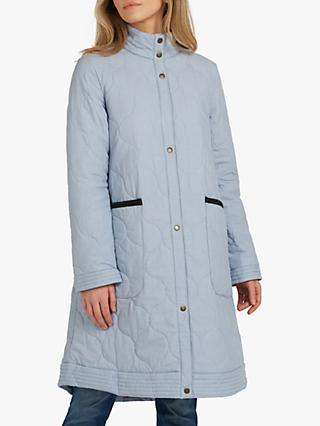 Barbour Fogle Wilderness Amora Longline Quilted Coat, Lake Blue