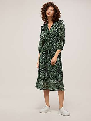 Somerset by Alice Temperley Frill Sleeve Tiger Print Dress, Sage