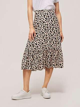 Somerset by Alice Temperley Powder Leopard Tiered Skirt, Multi