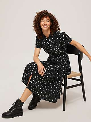 Somerset by Alice Temperley Abstract Paw Print Shirt Dress, Black
