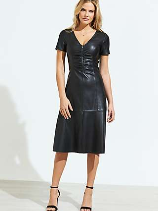 Sosandar Leather Look Knee Length Dress, Black