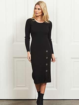 Sosandar Ribbed Eyelet Dress, Black