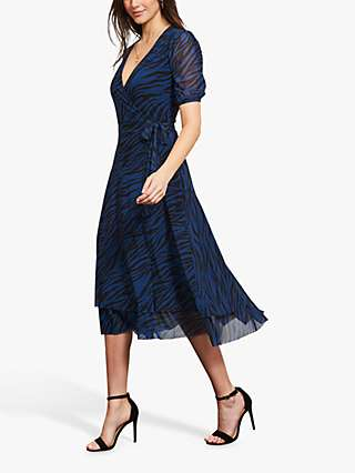 Sosandar Zebra Print Midi Dress, Blue