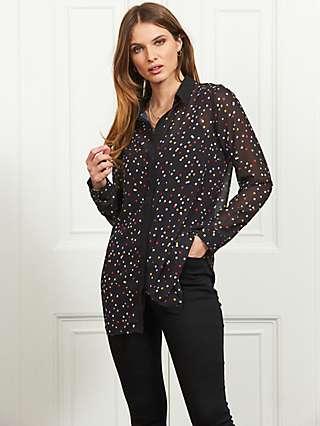 Sosandar Spot Print Shirt, Black/Multi