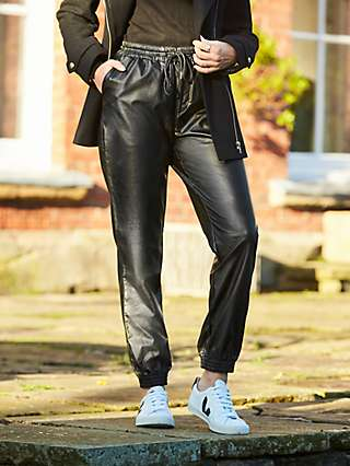 Sosandar Faux Leather Joggers, Black
