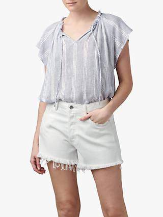 Rails Raven Stripe Linen Blend Top, Alameda Blue