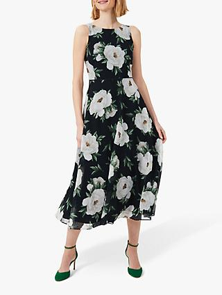 Hobbs Carly Floral Print Midi Dress, Navy/Ivory