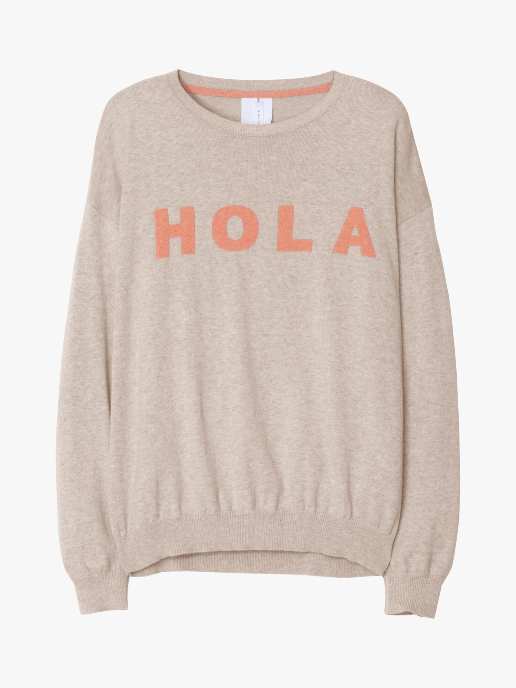 Thought Hola Organic Cotton Slogan Jumper, Vanilla Cream