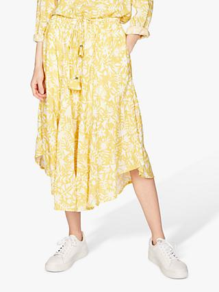 Thought Otomi Printed Tiered Skirt, Lemon Yellow