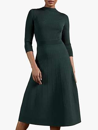 Ted Baker Franeyy Textured Flared Dress, Dark Green