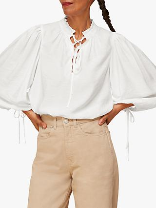 Whistles Tie Neck Blouse, White