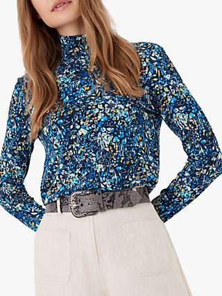 Brora Liberty Print Jersey Polo Top, Indigo Meadow