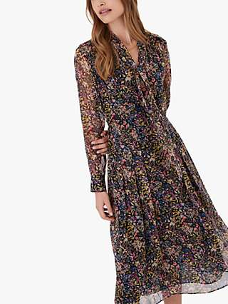 Brora Liberty Bow Floral Midi Dress, Black Meadow