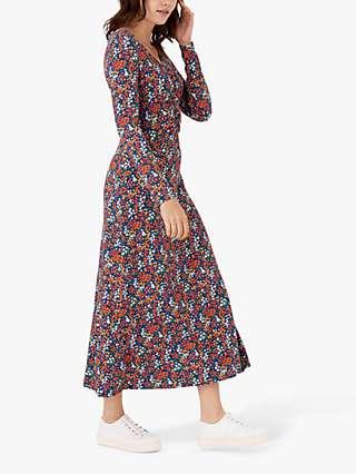 Brora Liberty Jersey Ruched Dress, Marigold Sprig