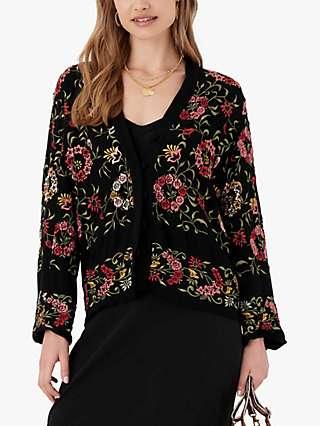 Brora Embroidered Floral Jacket, Black/Multi