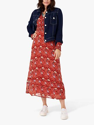 Brora Folk Print Silk Dress, Marigold