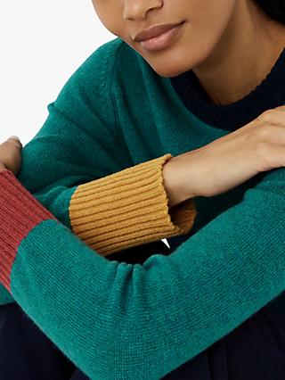 Brora Cashmere Colour Block Detail Jumper, Lagoon