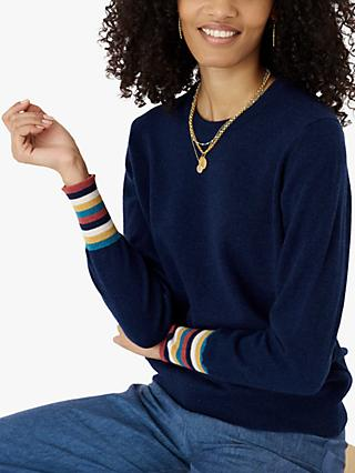 Brora Cashmere Stripe Cuff Jumper, French Navy