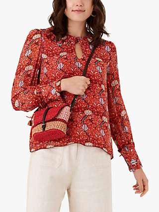 Brora Folk Print Silk Blouse, Marigold