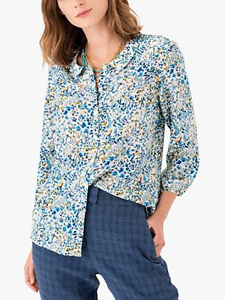 Brora Liberty Peter Pan Top, Sky Meadow