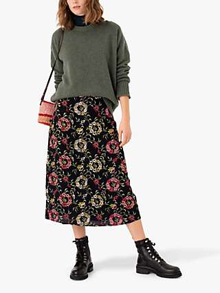 Brora Embroidered Floral Skirt, Black/Multi