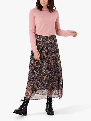 Brora Liberty Silk Chiffon Floral Maxi Skirt, Black Meadow