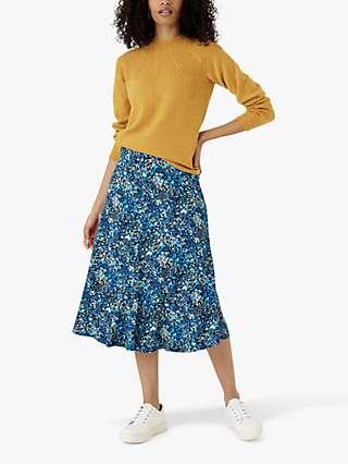 Brora Liberty Jersey Floral Midi Skirt, Indigo Meadow